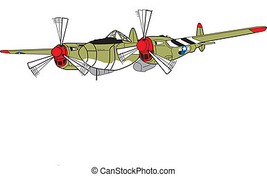 p38 fighter plane - World war two fighter plane, twin tail,...