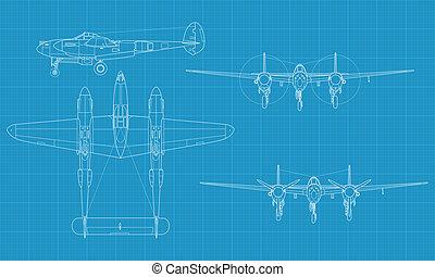P38 Lighting - High detailed vector illustration of old ...