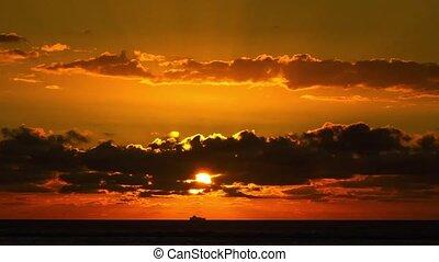 paßte, Auf, Sonnenuntergang, schließen, sandstrand, rotes