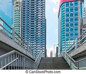 paßte, gebäude, zentral, buero, bild, modern, hongkong