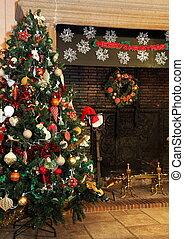 país, árvore, natal