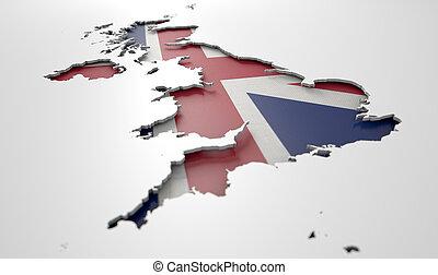país, ahuecado, gran bretaña, mapa