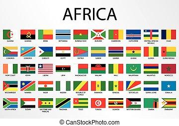 país, alfabético, áfrica, bandeiras, continente