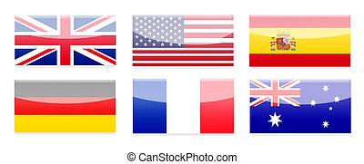 país, bandera, botones