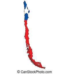 país, bandera, contorno, chile