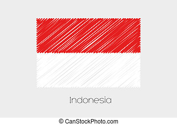 país, bandera, indonesia, ilustración, garabatear