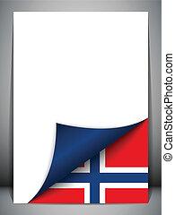 país, bandera, noruega, página que da vuelta