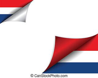 país, bandera, países bajos, página que da vuelta