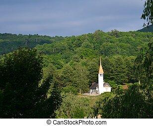 país, blanco, iglesia, ocaso