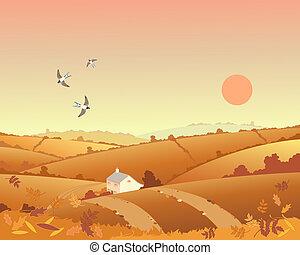 país, cabaña, en, otoño