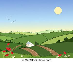país, cabaña, en, verano