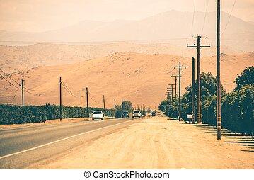 país, california, carretera