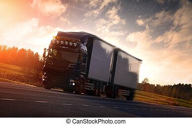 país, caminhão, rodovia