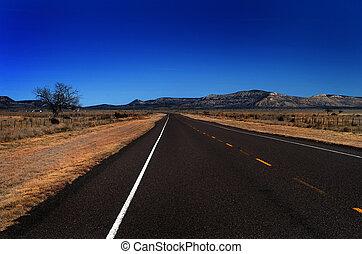 país, camino abierto, tejas, colina