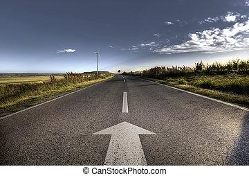 país, camino de asfalto, en, fuerte, llamarada