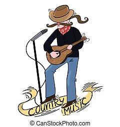 país, cantor, guitar., logotipo, música, inscription.