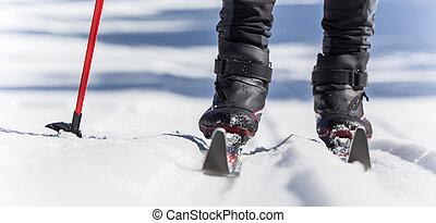 país, cruz, esquí