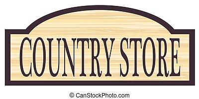 país, de madera, señal, tienda