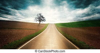 país, dramático, disposição, estrada