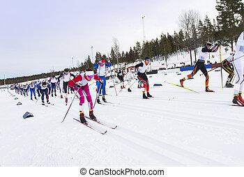 país, esquí, competición, cruz