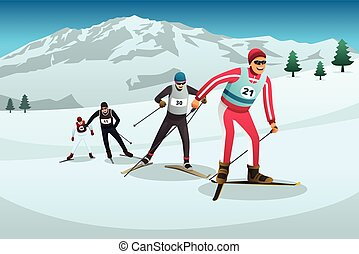 país, esquí, cruz, ilustración, competir, atletas