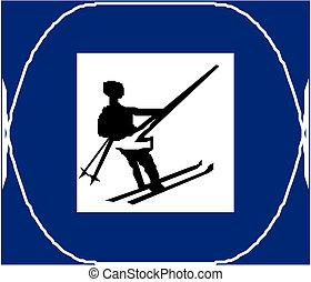 país, esquiando, crucifixos, sinal