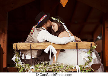 país, estilo, noivo, casório, noiva