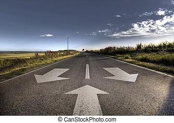 país, estrada asfalto, em, forte, chama
