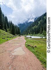 país, estrada montanha, chuva