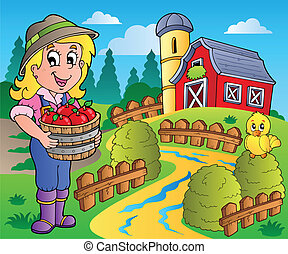 país, granero, escena, 7, rojo