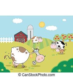 país, granja, escena, con, vacas