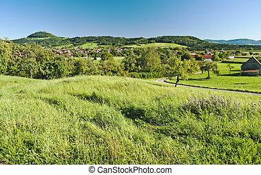 país, idílio, com, vila, e, vista, para, alemão, alb