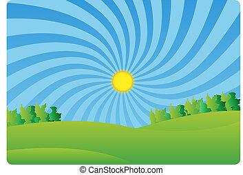país, idylle, paisaje verde, f