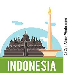 país, indonesia, bandera