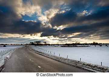 país, inverno, estrada