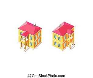 país, isométrico, conjunto, casa amarilla