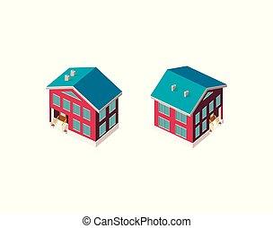 país, isométrico, conjunto, casa