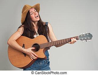 país, jovem, guitarra, play., menina, style.