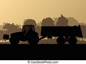 país, maíz, ilustración, campo, vector, grano, tractor,...