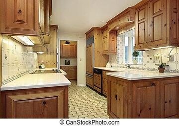 país, madera, gabinetes, cocina