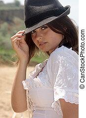 país, menina, em, um, chapéu