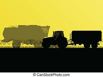 país, milho, ilustração, campo, vetorial, grão, trator, fundo, cultivado, agricultura, reboque, paisagem