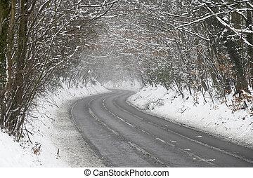 país, nieve, árboles, esquelético, rayado, camino