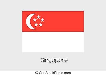 país, nome, bandeira, ilustração, cingapura