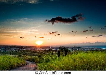 país, pôr do sol, estrada