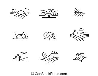 país, paisagem, ícones