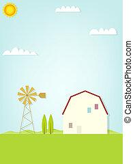 país, paisagem, com, moinho de vento