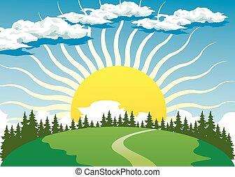 país, paisagem, com, sol