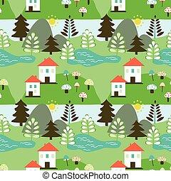 país, paisagem, seamless, padrão