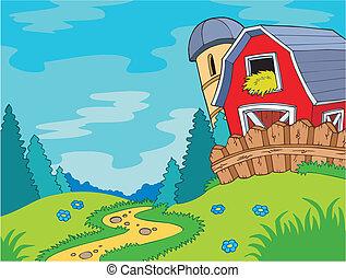 país, paisaje, con, granero